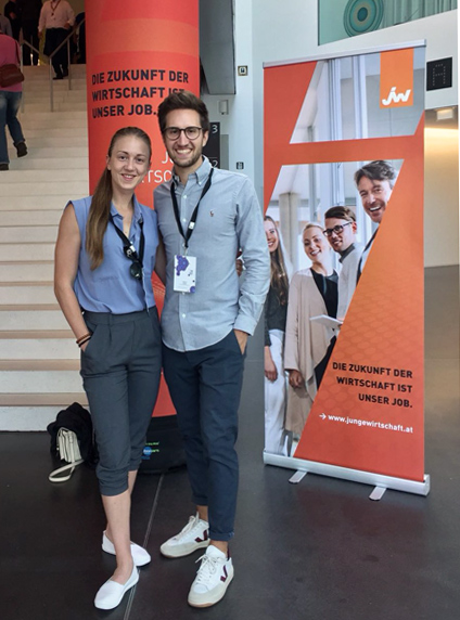 Stefanie Hahn, MA und Ing. Philip Hahn, Bsc bei der Bundestagung der Jungen Wirtschaft 2018 in Bregenz